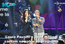 Laura Pausini e Jean William cantam no palco